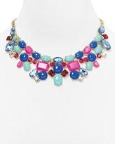 """Aqua Multicolor Bib Necklace, 14"""""""