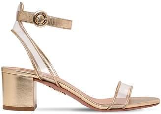 Aquazzura 50mm Minimalist Metallic Leather Sandals