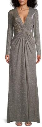 Mac Duggal Metallic Long Sleeve Gown