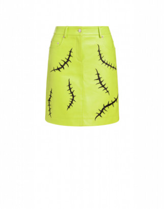 Moschino Nappa Leather Scars Miniskirt Woman Green Size 40 It - (6 Us)