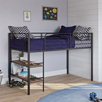 Your Zone Beckett Kids Metal Twin Loft Bed with Open Book Shelf, Multiple Finishes