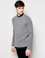 Peter Werth Knitted Crew Neck Jumper With All Over Stitch Pattern - Silver