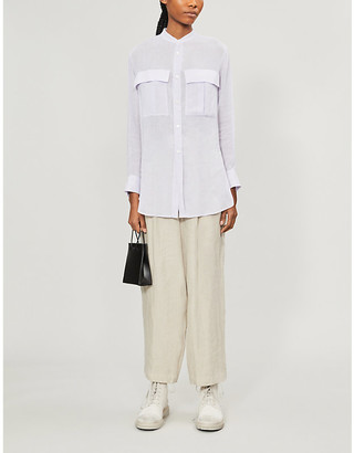 Y's Ys Oversized patch-pocket rayon and linen-blend shirt