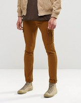 Asos Super Skinny Jeans With Cargo Pockets In Rust