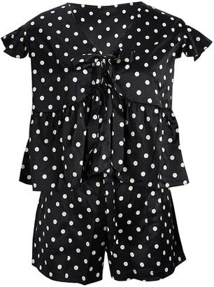 Elegant Silk Short Pyjamas Set - White & Black Polka Dots