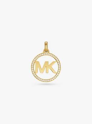 Michael Kors 14K Gold-Plated Sterling Silver Pave Oversized Logo Charm