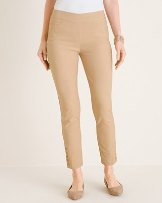 So Slimming Brigitte Button-Hem Slim Ankle Pants