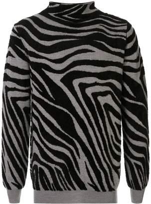 Emporio Armani zebra-print knit jumper