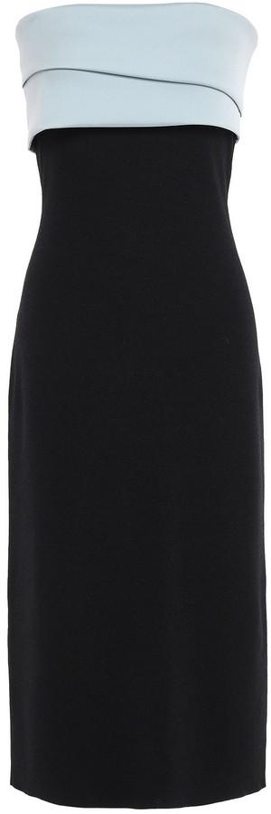 Sachin + Babi Strapless Twill-paneled Ruffled Two-tone Stretch-knit Midi Dress