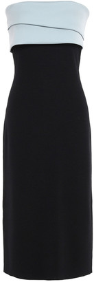 Sachin + Babi Strapless Twill-paneled Ruffled Two-tone Stretch-knit Midi Dress