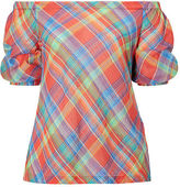 Ralph Lauren Woman Plaid Off-the-Shoulder Top