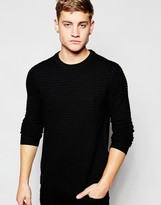 Pull&bear Jumper With Crew Neck In Textured Knit - Black