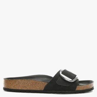 Birkenstock Madrid Big Buckle Black Leather Mules