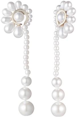 Carolee Imitation Pearl Fan Linear Drop Earrings