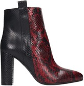 Via Roma 15 High Heels Ankle Boots In Red Leather