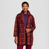 A New Day Women's Plaid Top Coat - A New Day Cherry