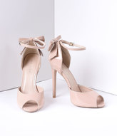 Pleaser USA Nude Patent Peep Toe d'Orsay Bow Sexy Heels