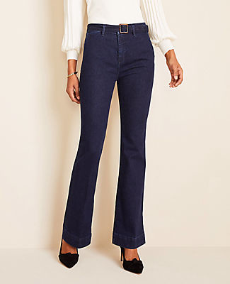 Ann Taylor Petite Sculpting Pocket Belted Denim Trousers in Bright Rinse Wash