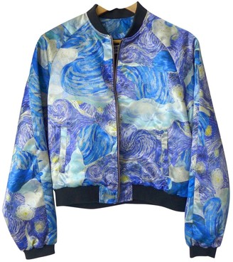 Andrea Crews Blue Leather Jacket for Women