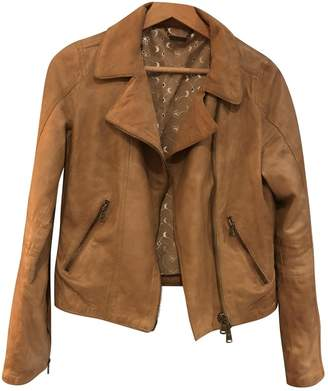 Le Sentier Camel Leather Leather Jacket for Women