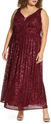 Morgan & Co. Sequin Knit Sleeveless Gown