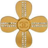One Kings Lane Vintage Chanel Clover Pin w/ Clear Rhinestones