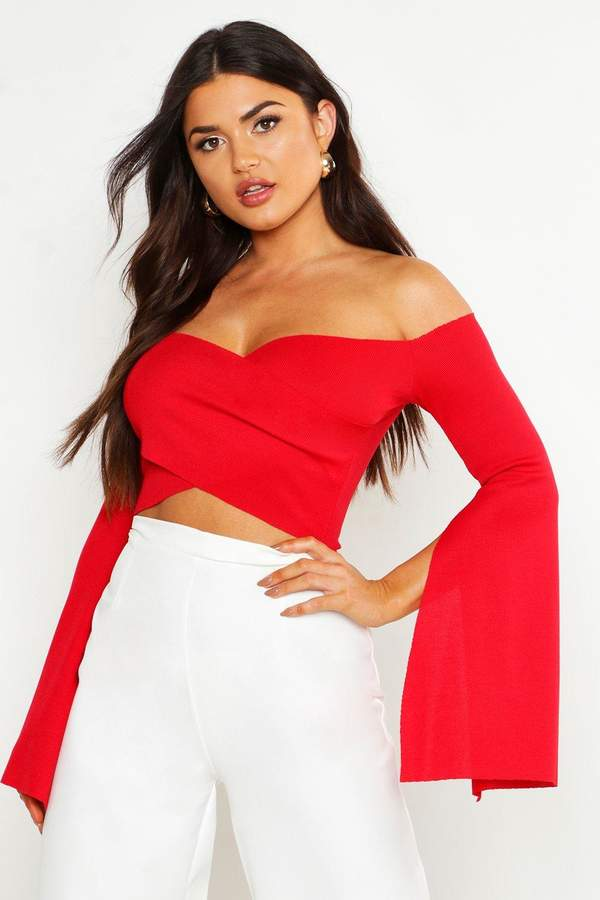 4ced42b293e boohoo Red Off Shoulder Women's Tops - ShopStyle