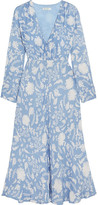 RIXO London - Katie Printed Crepe Midi Dress - Light blue