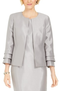 Kasper Shiny Ruffled-Cuff Jacket