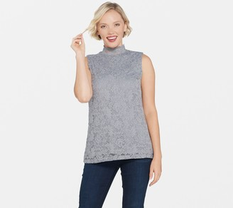 Susan Graver Stretch Lace Mock-Neck Sleeveless Top