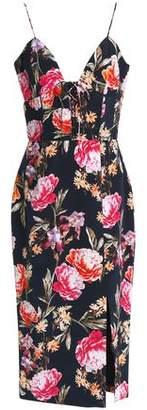 Nicholas Lace-up Floral-print Silk Crepe De Chine Midi Dress