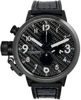 U-Boat 7118 Men's Flightdeck Auto Chron Black Alligator & Rubber Silver-Tone Hand Watch