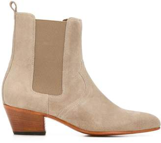 Closed block heel ankle boots