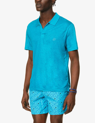 Vilebrequin Turtle-embroidered linen polo shirt
