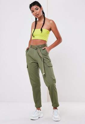 Missguided Khaki D Ring Belted Cargo Pants
