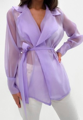 Missguided Lilac Organza Belted Wrap Blouse