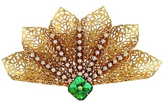 Kenneth Jay Lane Antique Goldplated & Crystal Filigree Brooch