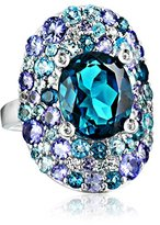 Kenneth Jay Lane Fine Jewelry Sterling Silver, Tanzanite, Blue and White Topaz Oval Ring, Size 7