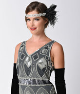 Handmade Black & Silver Deco Beaded & Feather Starlet Headband