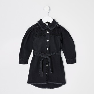 River Island Mini girls Black cutwork denim shirt dress