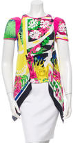Versace Silk Tropical Print Top