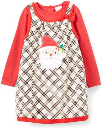 Nannette Kids Girls' Casual Dresses IVORY - Ivory Plaid Santa Jumper & Red Long-Sleeve - Infant & Toddler