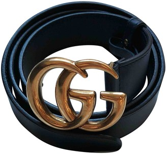 Gucci GG Buckle Navy Leather Belts