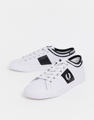 Fred Perry underspin logo cuff leather trainers