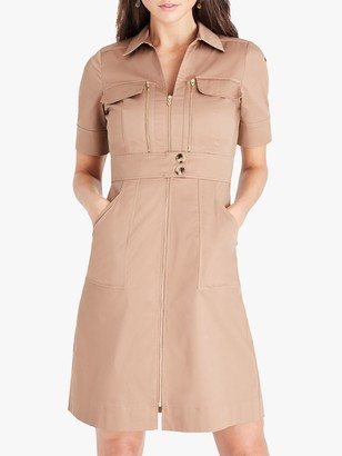 Damsel in a Dress Blaire Zip Mini Dress, Neutral