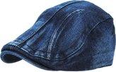 KBETHOS KBM-210 BLK DENIM Denim Suede Peak Newsboy Ivy Cabbie Hat Cap