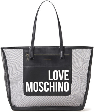 Love Moschino Logo-print Faux Leather And Mesh Tote