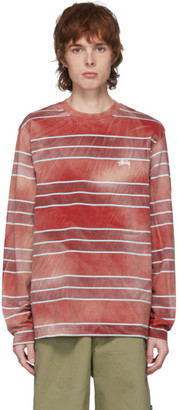Stussy Red Bleached Stripe Long Sleeve T-Shirt