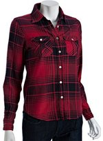 red plaid button front fitted shirt