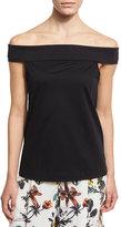 Tibi Mercerized Knit Off-the-Shoulder Top, Black